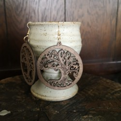 Wooden Tree of Life earrings
