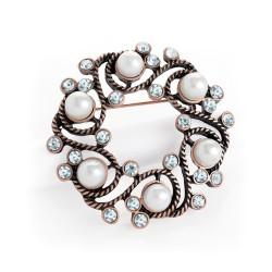Circular Pearl Brooch