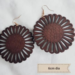 Wooden Sunflower Earrings