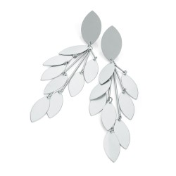 Silver falling leaves earrings